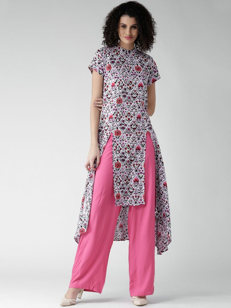 GERUA White Printed High-Low A-Line Kurta