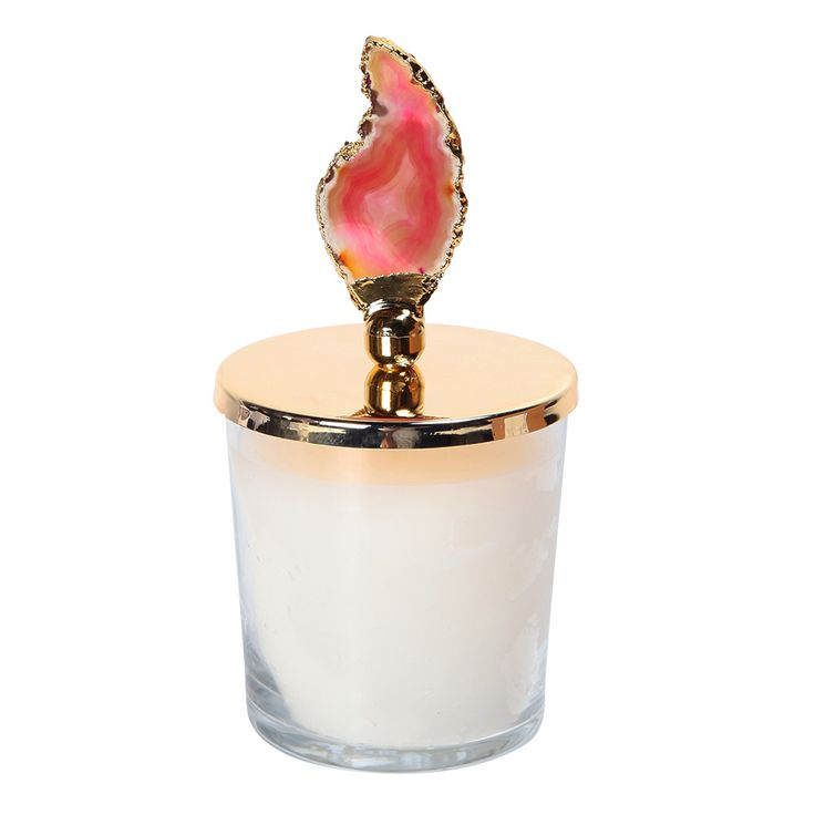 PINK AGATE HANDMADE CANDLE