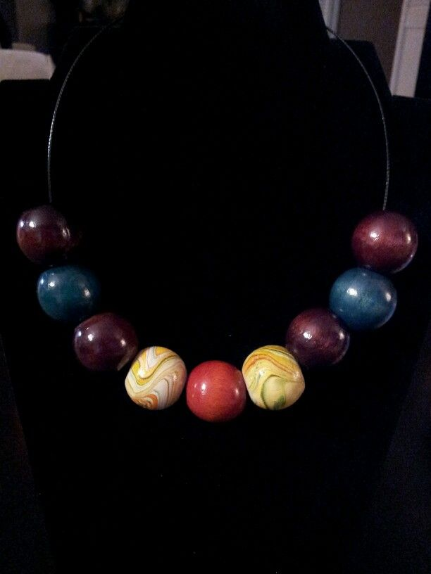 Wood Multi-Color Round Bead Statement Necklace - $10 [OOAK and Customizable] (Link available soon)
