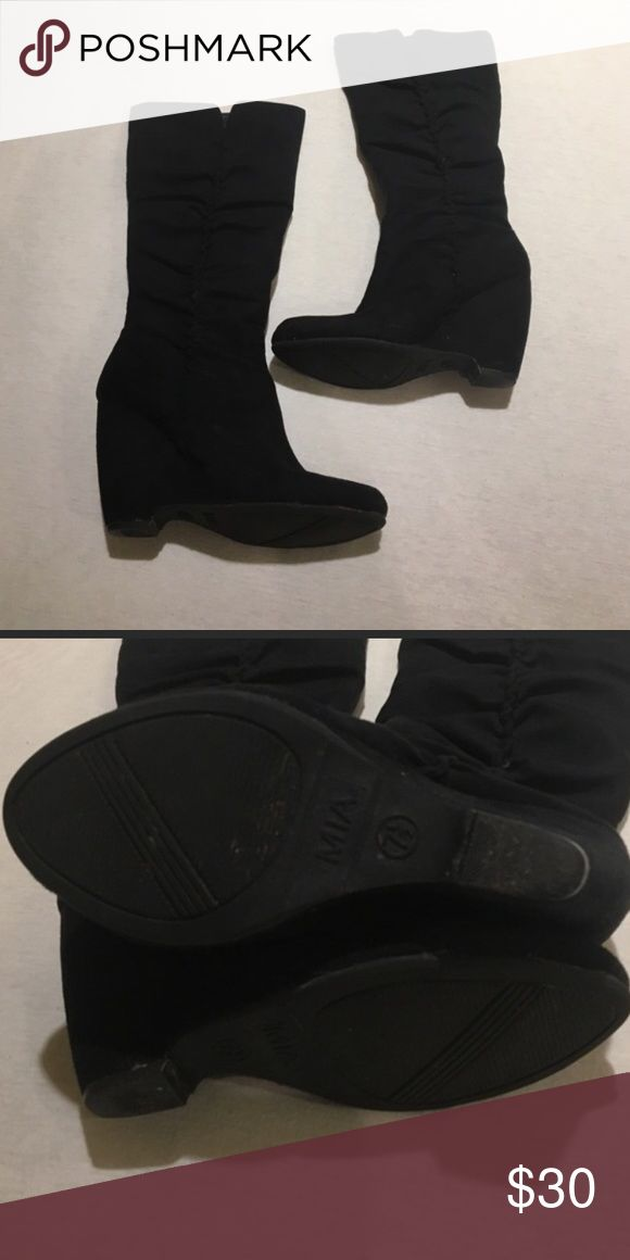 Mia black wedge boots Mia black wedge boots size 7.5. Worn a few times! MIA Shoes Wedges