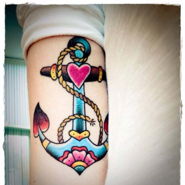 Bright Colorful Anchor American Traditional Tattoo