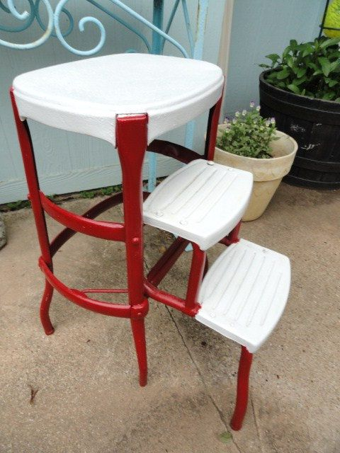 vintage retro utility step stool 50s kitchen red white mid century metal