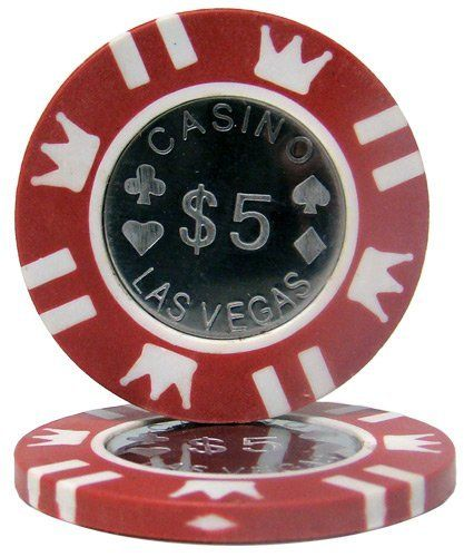 "50 .... $7.99. These Coin Inlay poker chips are truly a vacation from the same old boring poker chips. The metal inlay display reads ""Casino"" at the top, and ""Las Vegas"" at the bottom. In the middle of the inlay is ""$5"" with the card suits on either side. Each denomination has it's own color. This metal inlay style of chip is still popular in many Las Vegas casinos today. The sharp look of these unique chips is enough to set them apart from most, but the feel is what really pu... #money…"