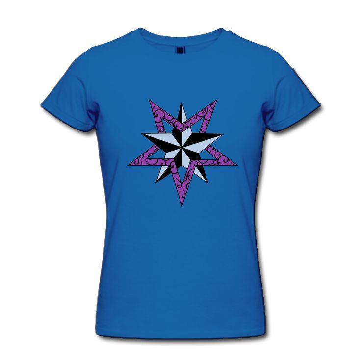 >> Click to Buy << Nautical Star Pink Custom Cotton Print O-Neck Short RoyalBlue Tshirts Women's Fashion Haut Femme #Affiliate