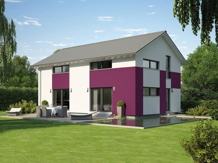 Hausentwurf Satteldachhaus • Fertighaus von OKAL Haus • Kindgerechtes Haus mit Putzfassade in moderner Bicolor-Optik • Jetzt bei Musterhaus.net informieren!