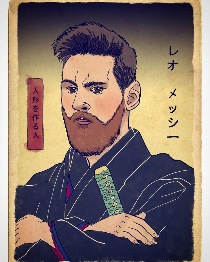 Lionel Messi depicted as Samurai warrior by Italian artist Pupazzaro