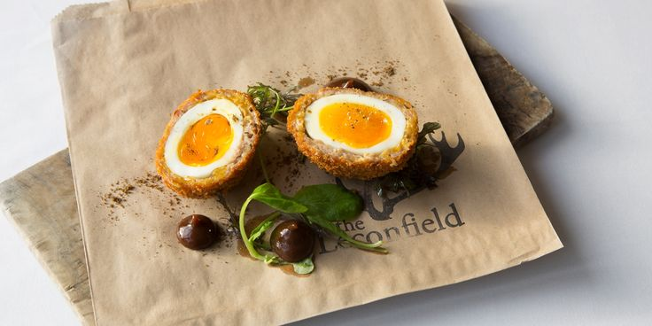 A delicious Christmas Scotch egg recipe from Paul Welburn, using turkey leg, chestnuts and sage. Including a spiced plum ketchup recipe, this dish makes a fantastic Christmas party snack.