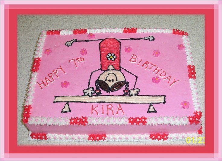 Gymnast - 9x13 sheet cake frosted in buttercream Designed piped on using tip #3 to match party invitation. Fondant flowers on top.