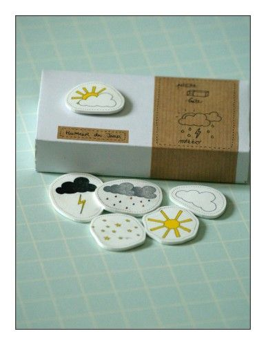 Moodbox: matchbox + magnet + moodmagnets. From Le Monde de K: petite boîte météo - humeur du jour. Check out the other pictures.