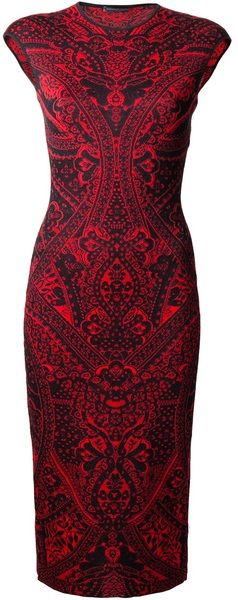 Alexander Mcqueen Lace Print Dress - Lyst