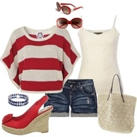 .: Fashion Outfit, Blue Thi Outfit, Red Toms Bobs, Suits Summ Wear, Red White Blue, Polyvore Red, Outfit Scream, Black White, Peyton Style