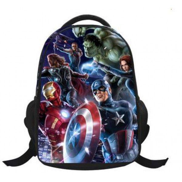 Marvel avengers rygsæk med Captain America, Hulk, Thor, Ironman, Hawkeye og Block widow