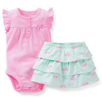 Carter's Baby Girl 2-Piece Bodysuit and Skirt Set. Love the colors!!!!!