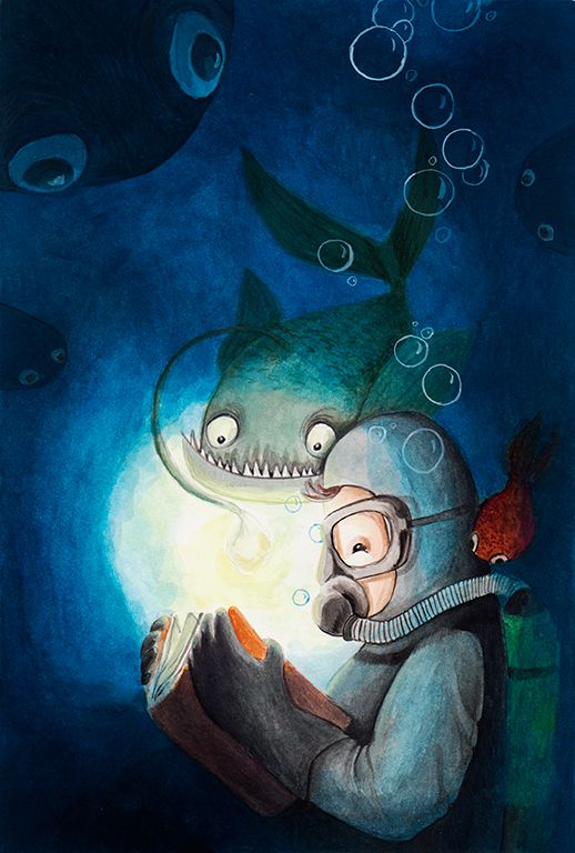 Deep sea reader. Gouache illustration.