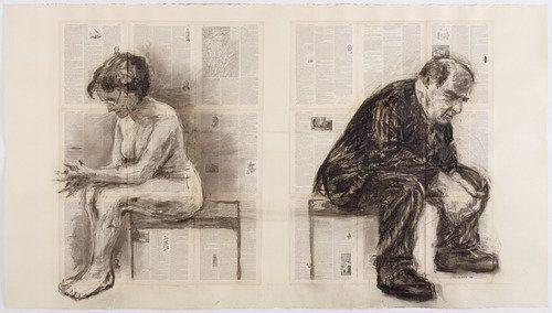 William Kentridge. Seated Couple (Back to Back). 1998