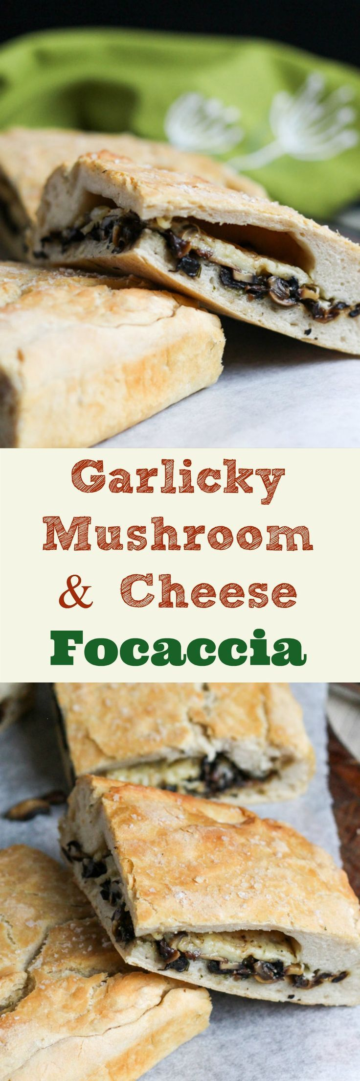 Stuffed Garlicky Mushroom & Cheese Focaccia. An easy vegetarian lunch that freezes well. The versatile mushroom filling can also be used in other dishes.