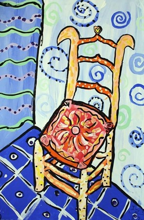 van gogh's chair.  patterns.  complementary colors (blue and orange)