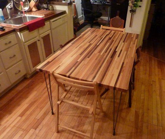 diy butcher block dining table design