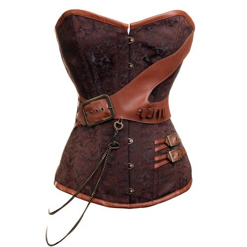 CD-237 Steampunk Brocade Corset with Chain and Belt DetailingSteampunk Brocade, Steampunk Fashion, Steampunk Corsets, Style, Clothing, Brocade Corsets, Chains, Belts Details, Steam Punk
