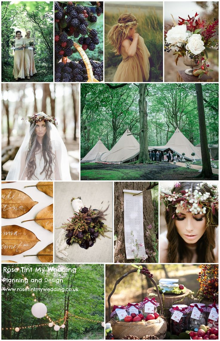 Whimsical Woodland wedding inspiration. Use Autumn leaves, berries, fruit and moss to decorate your enchanted forest. Visit www.rosetintmywedding.co.uk for bespoke wedding planning, styling and inspiration UK www.rosetintmywedding.co.uk