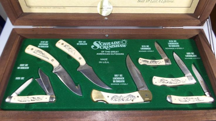 1990 7pc SCHRADE SCRIMSHAW GREAT AMERICAN OUTDOORS LIMITED ...