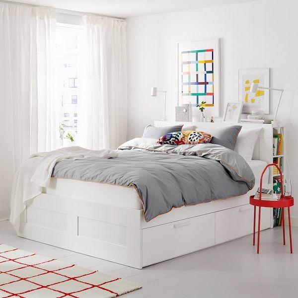 Brimnes Bed Frame With Storage Headboard White Luroy King Tete De Lit Avec Rangement Lit Rangement Tete De Lit Blanche