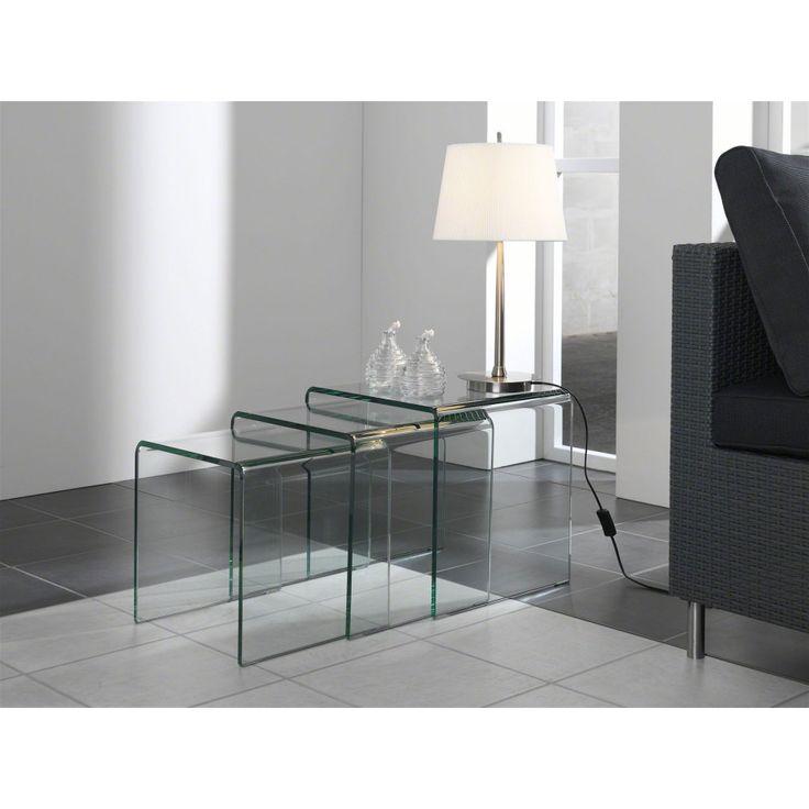 glazentafel.com | Glazen Bijzettafel Orlando | 3500 Curved Series Glass | Gebogen glazen bijzettafel set Orlando bestaat uit drie tafels in de volgende maten (afmetingen in cm): 41x41xh42,  38x38xh38 en 35x35xh34 | helder glas in 10mm |