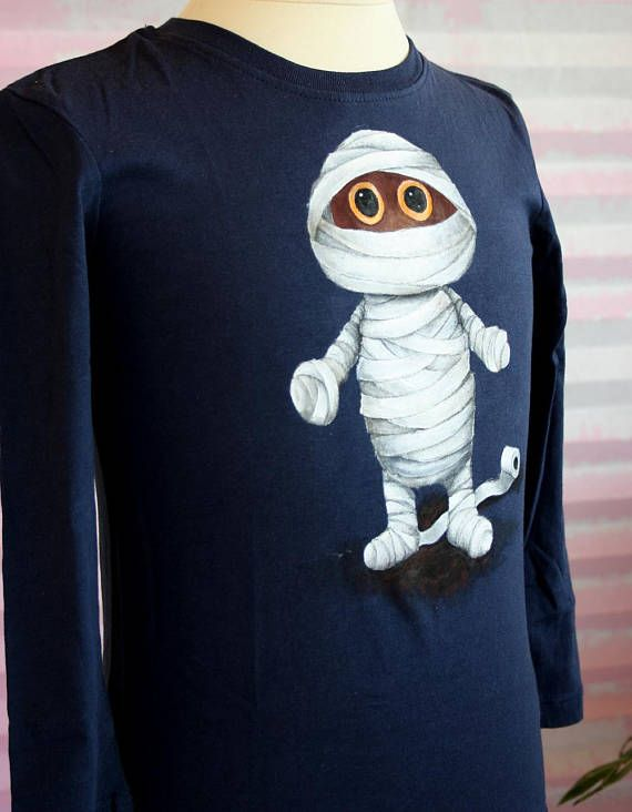 A Cute Little Mummy Is Featured On This Hand Painted T Shirt If Youre