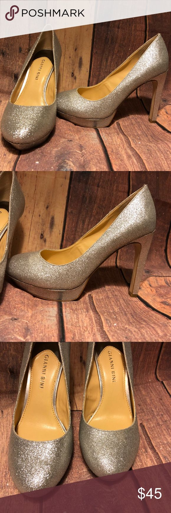 Gianni Bini Heels Shoes Silver Bling 7 Glitter Gianni Bini  Shoes / Heels Size 7  Sliver Sparkly Glitter (manufactured this way)  Would be super pretty for Prom  In excellent condition  Worn only twice  Originally $115  No weird odors  Smoke free pet free home  Shoes are clean inside and out Gianni Bini Shoes Heels