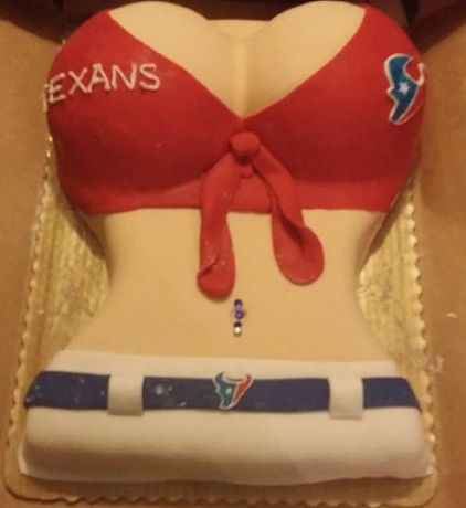 Houston Texans cheerleader cake that I made for my uncle for his birthday!