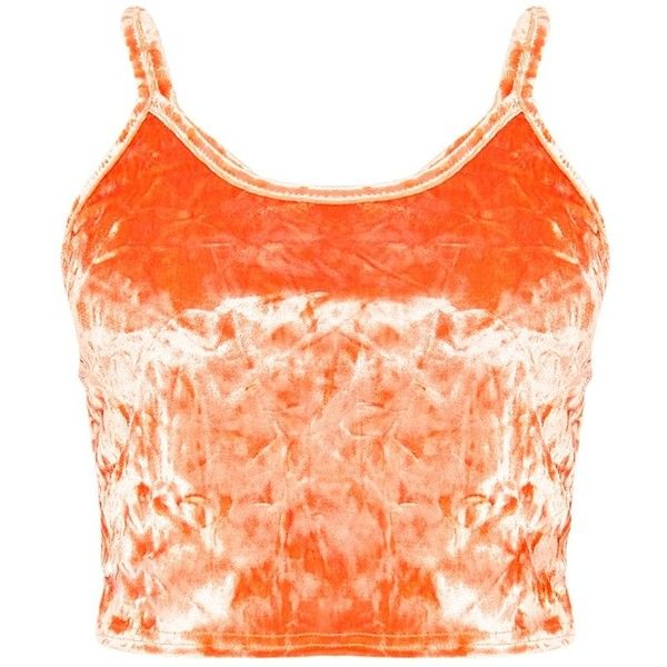 Kathleen Orange Crushed Velvet Cami Crop Top ($21) ❤ liked on Polyvore featuring tops, crushed velvet top, cut-out crop tops, cropped camis, orange cami and red cami top