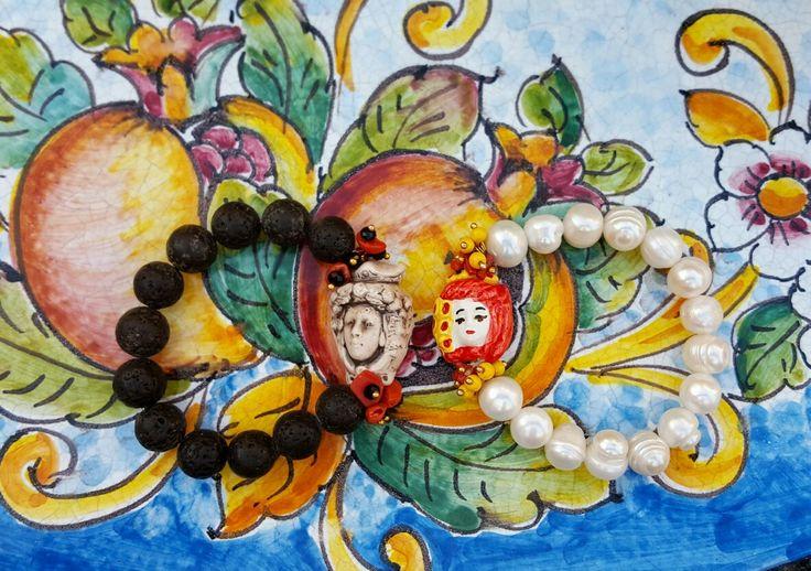 Pearls bracelets:  http://www.excessjewellery.com/shop/testa-di-moro-bracelet Lava bracelet : http://www.excessjewellery.com/shop/testa-di-moro-bracelet-1