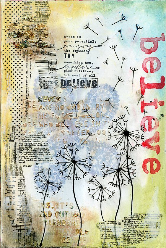 Believe art journal page by Jill Wheeler, featuring Scrap FX Words of Wisdom…