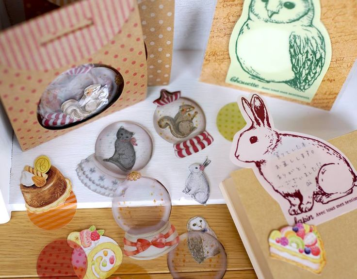 Cute stickers. Transparent snowglobe sticker to layer over. Tinkly cricket: アミファさんの文具を使った作品サンプル