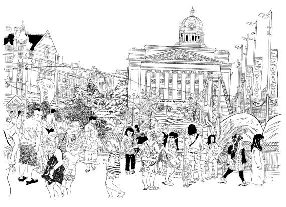 A4 Illustration Print  Nottingham City Centre by RumLadZinesAndArt, £12.00 on etsy by Steve Larder