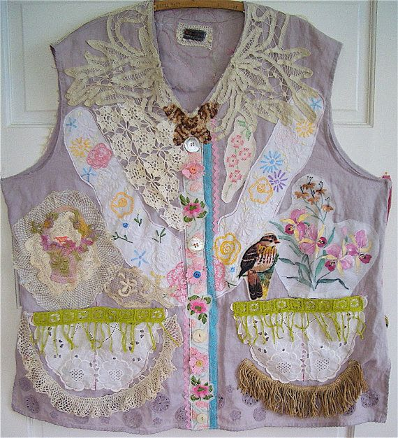 Antique & Vintage  Linens  Eclectic ARTISAN Wearable Folk Art Crochet & Embroidery & Lace  mybonny