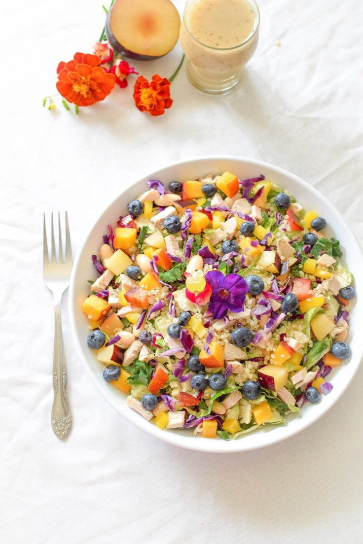 Come see just how good the rainbow can taste  with this vibrant, high protein, Rainbow Chicken Quinoa Salad that is naturally dairy and gluten-free!