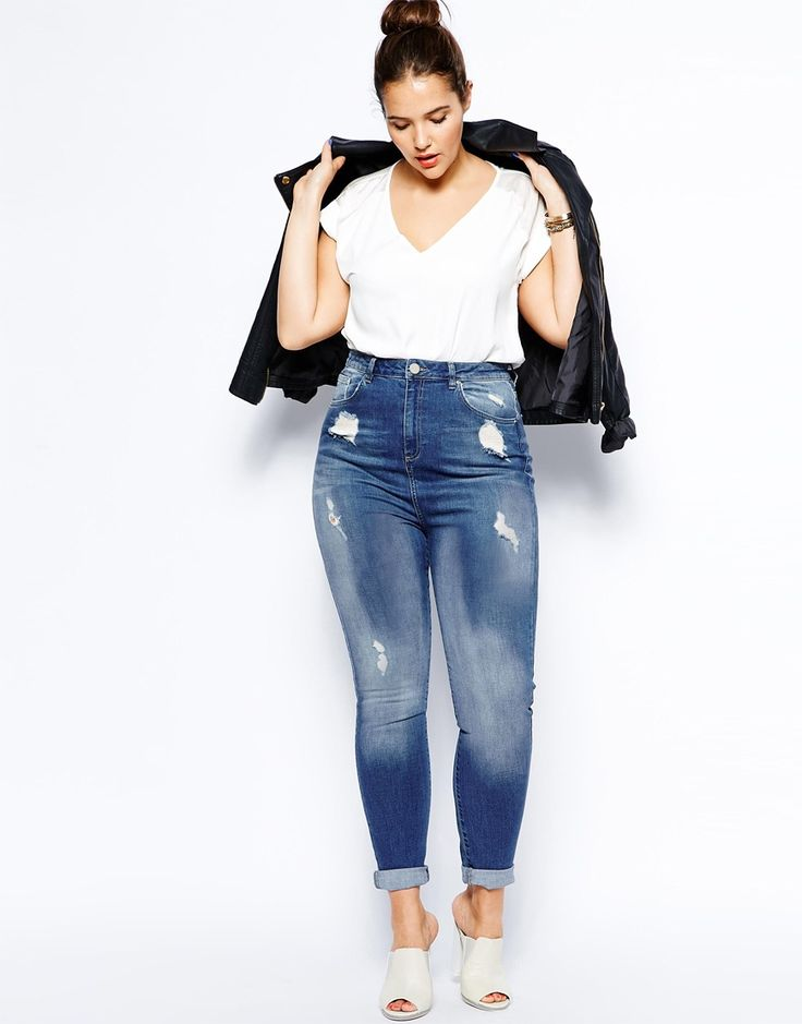 1000  images about Plus Size High Waisted Jeans on Pinterest