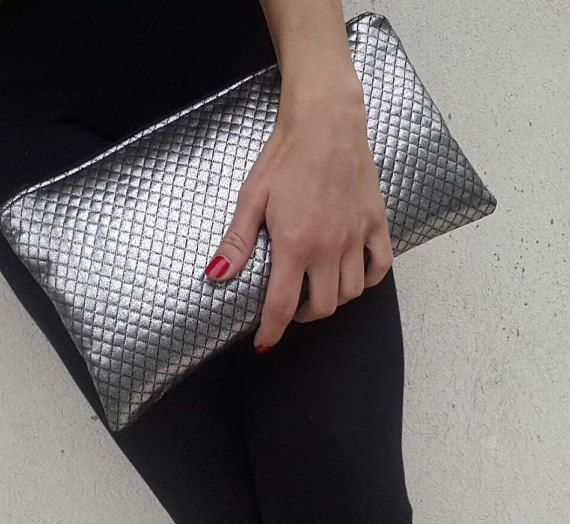 Neoprene silver clutch handmade, quilted, wedding party clutch, special occasion clutch bag