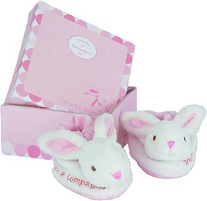 Doudou et Compagnie Bonbon Rabbit Booties Gift Box in Pink from googoogifts.co.uk