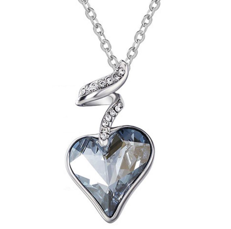 CRYSTAL & RHINESTONE HEART NECKLACE at sheerfab.com  $24.95  This gem of a necklace is an Austrian Crystal & Czech Rhinestone design platinum plated heart pendant. With a focus on the color blue, this piece will be stunning draped around your neck and show off some true classic style.   - Pendant Size: 3CM x 1.7CM - Material: Austrian Crystal & Czech Rhinestone - Length: 42 (+) 5CM - Metals Type: Zinc Alloy
