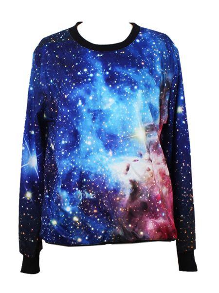 Sweatshirt In Blue Galaxy Print | Choies