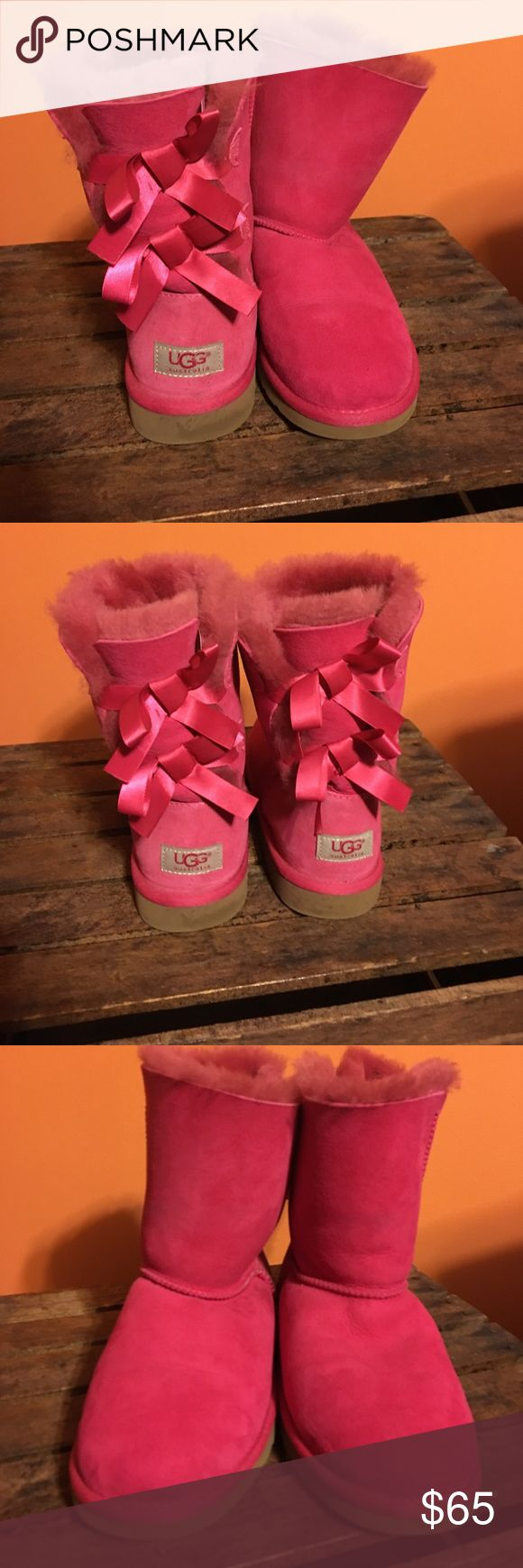 Pink Uggs Previously loved Pink ribbon Ugg boot size 6 UGG Shoes