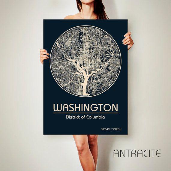 Affiche de Columbia WASHINGTON DC toile carte District Columbia affiche ville carte Washington Utah Art Print Washington District de Washington