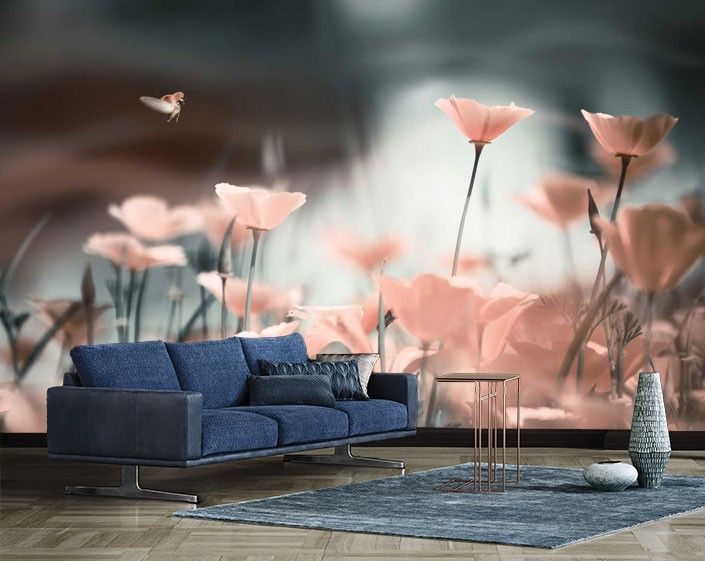 Vlies fotobehang Roze klaprozen in het zonlicht - Bloemen behang | Muurmode.nl