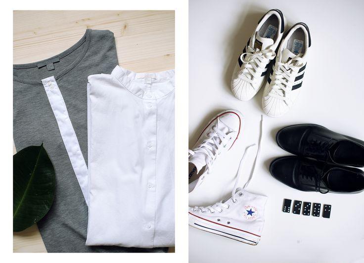 sivé šaty, košeľa - COS, topánky - Adidas Superstar, Converse, COS