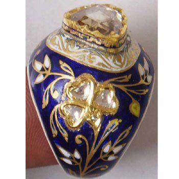 Polki ring with blue meenakari
