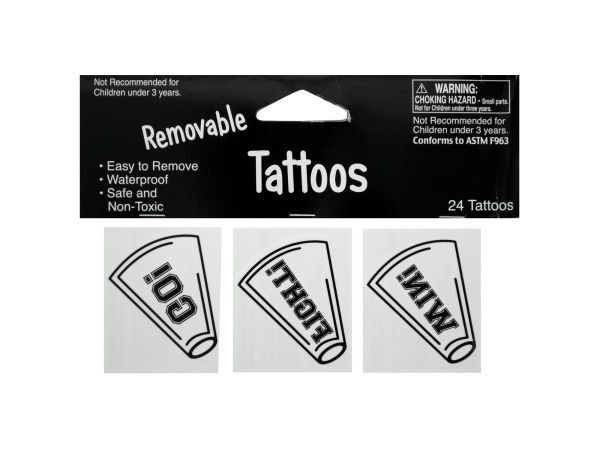 Removable White Cheer Tattoos, 72 - 24 Pack Removable White Cheer Tattoos. Weight: 0.0409/unit