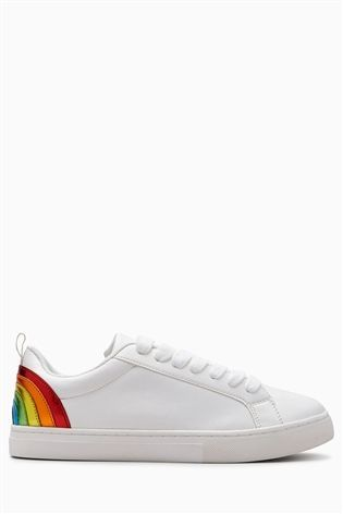 919c7f3f31681 White Rainbow Lace-Up Trainers (Older Girls)