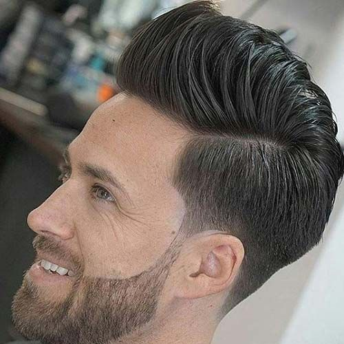 Low Taper Fade with Pompadour and Beard